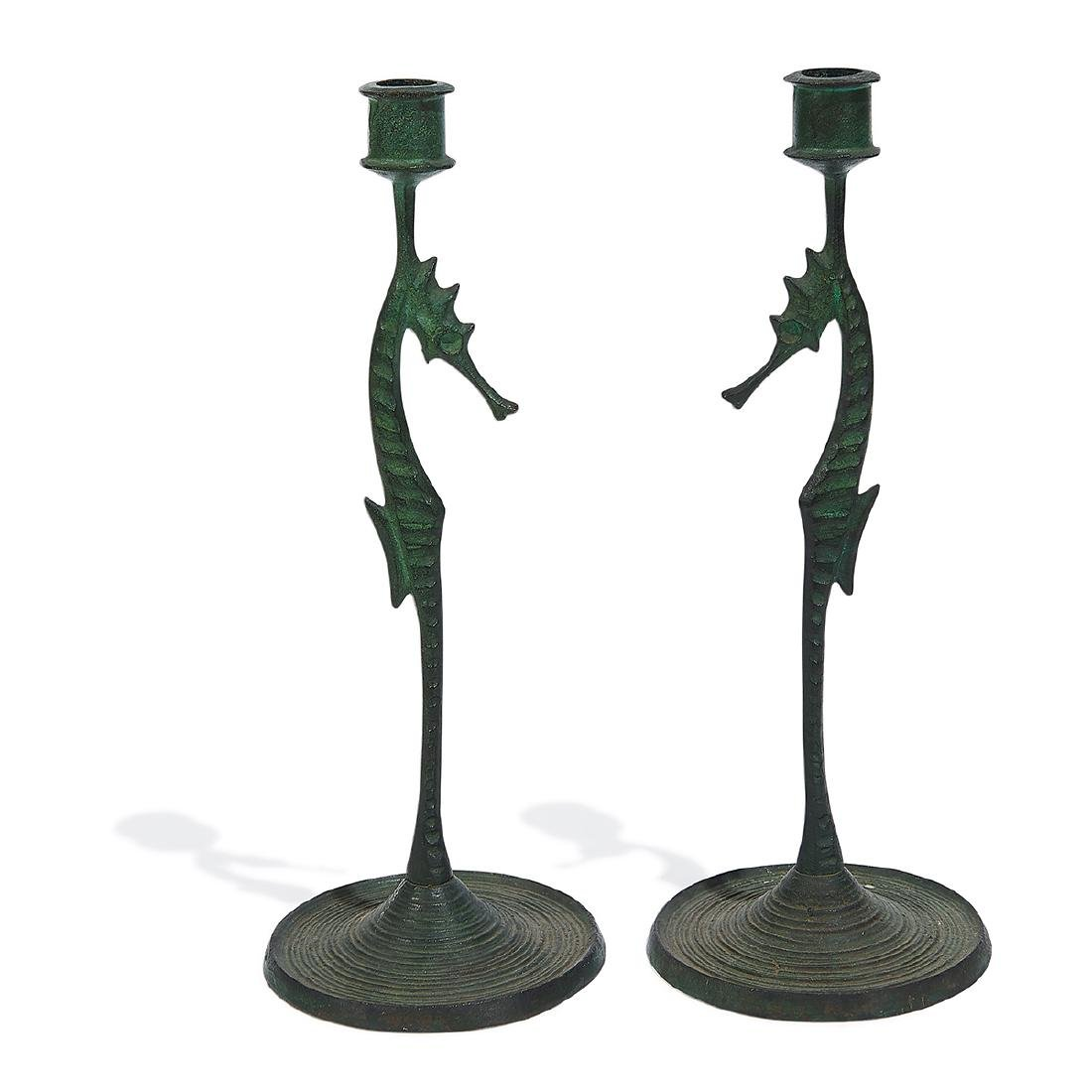 E.T. Hurley, Seahorse Bronze Candlesticks, Pair