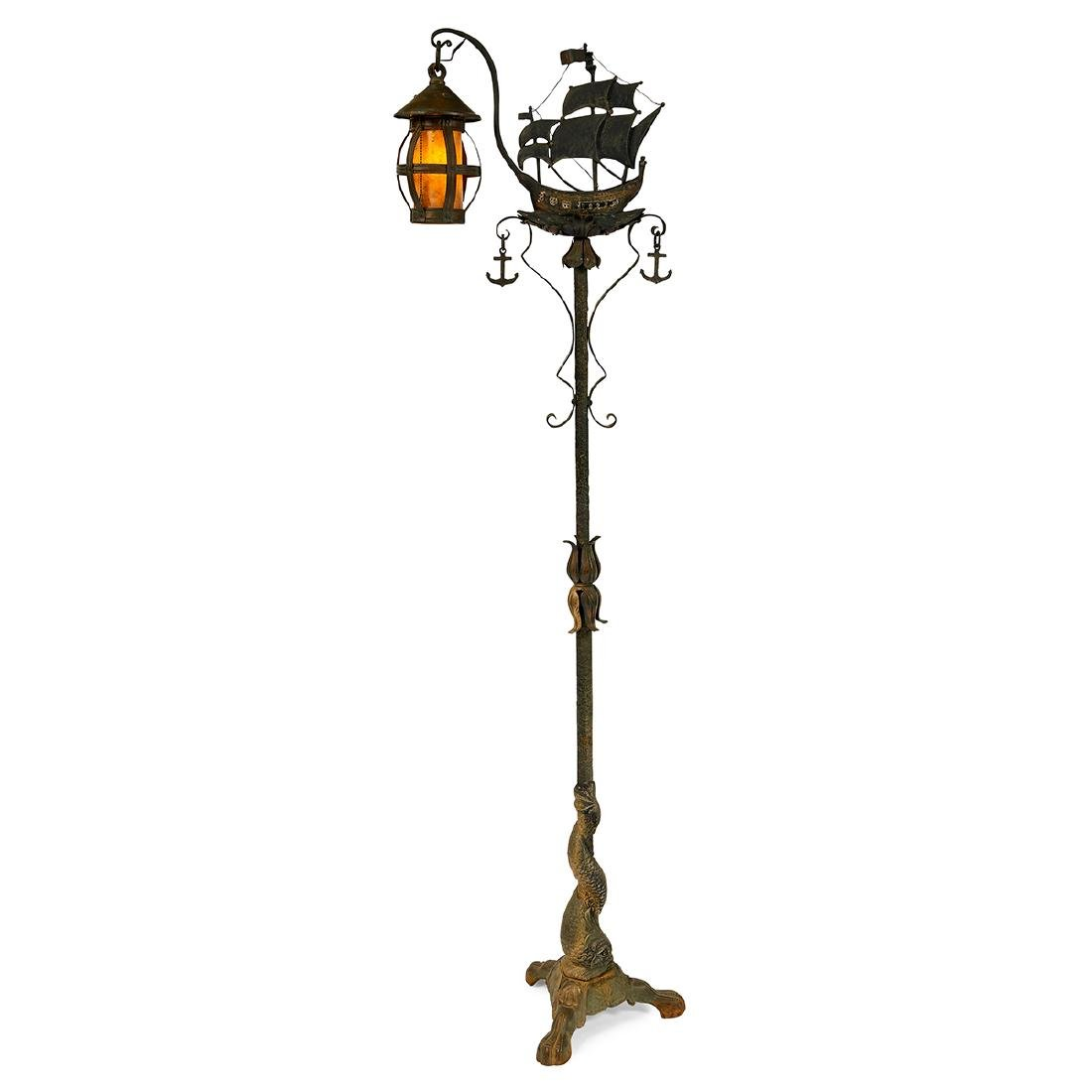 Arts & Crafts, Ship & Dolphin Lantern Floor Lamp