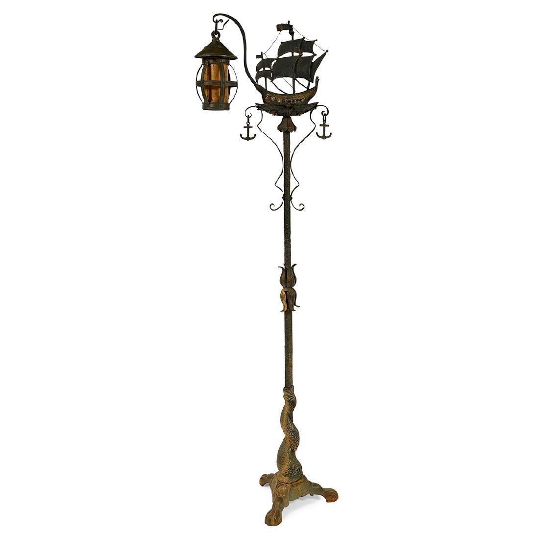 Arts & Crafts, Ship & Dolphin Lantern Floor Lamp - 2