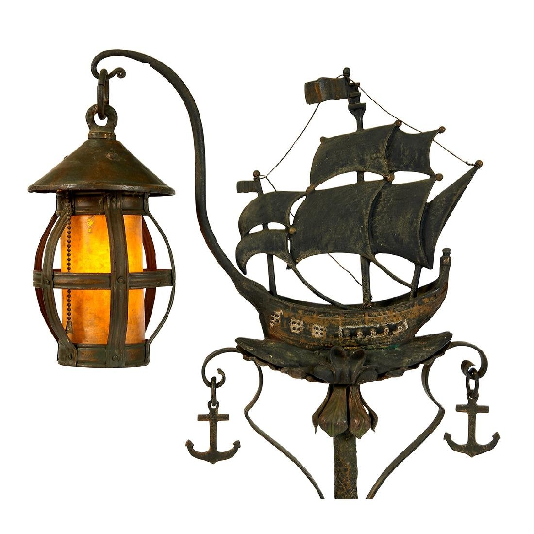 Arts & Crafts, Ship & Dolphin Lantern Floor Lamp - 3
