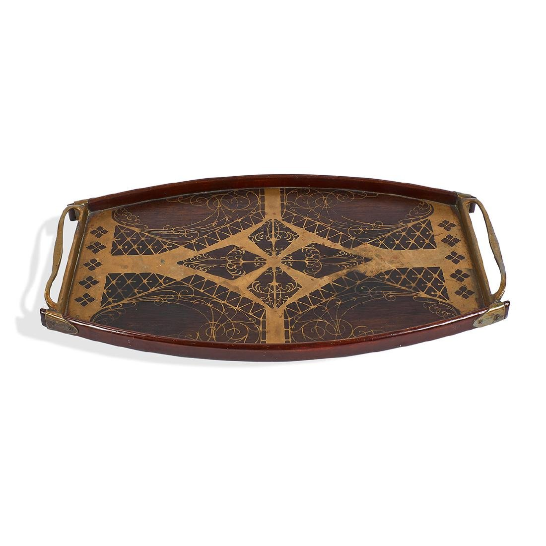 Erhard & Söhne, Two-Handled Inlaid Serving Tray