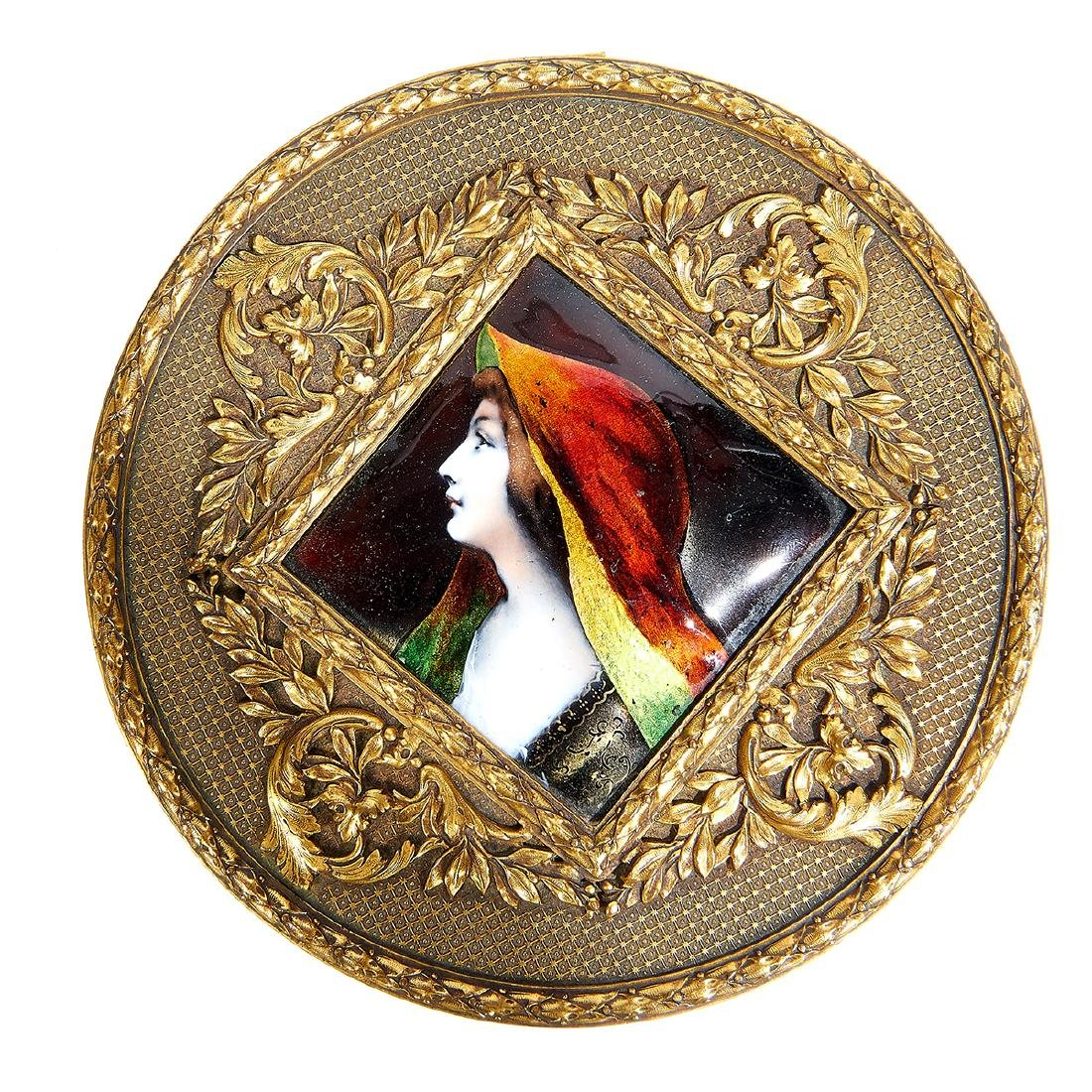 French Limoges, Profile Plaque Inset Dresser Box - 2