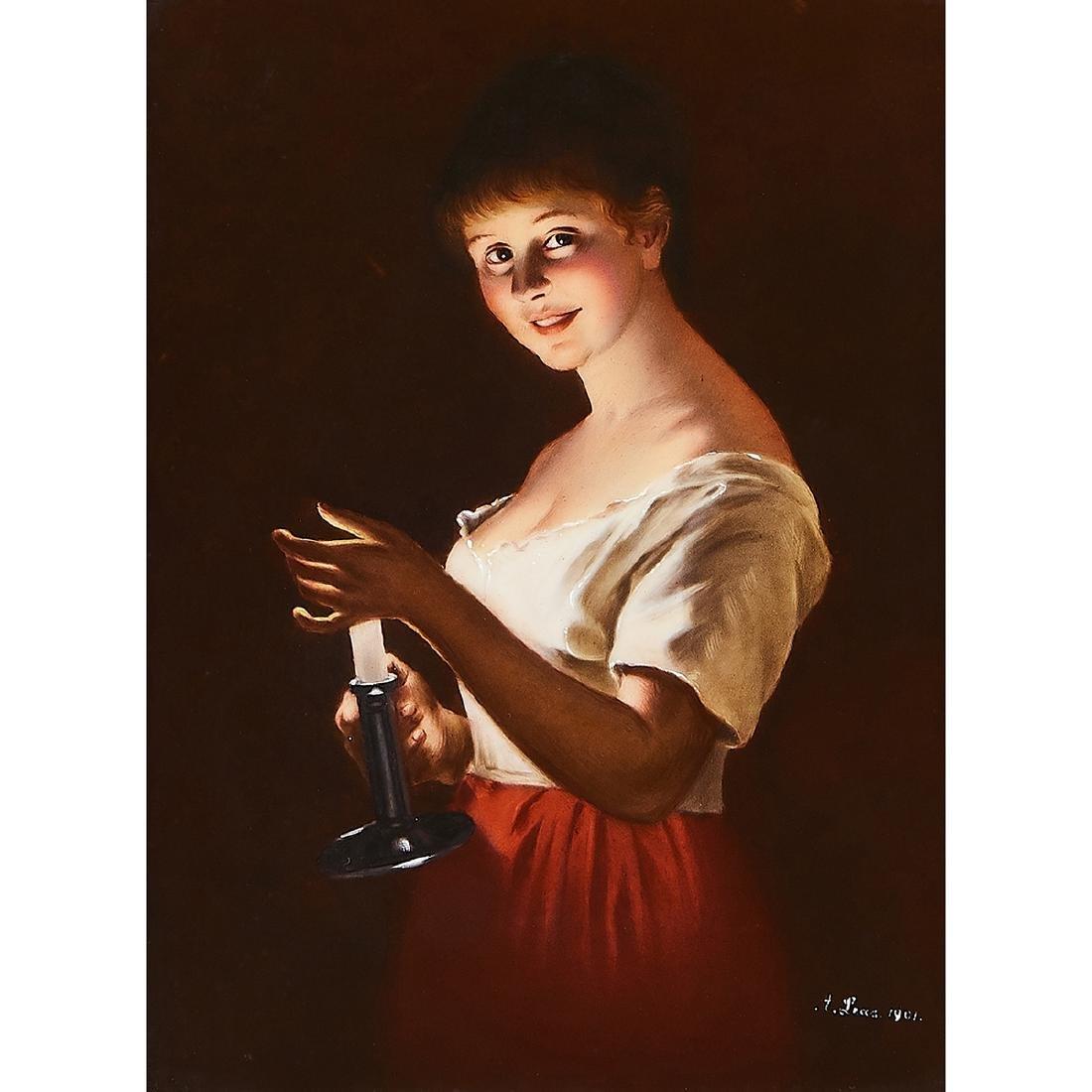 """T&V, """"Good Night"""" Portrait Porcelain Plaque"""