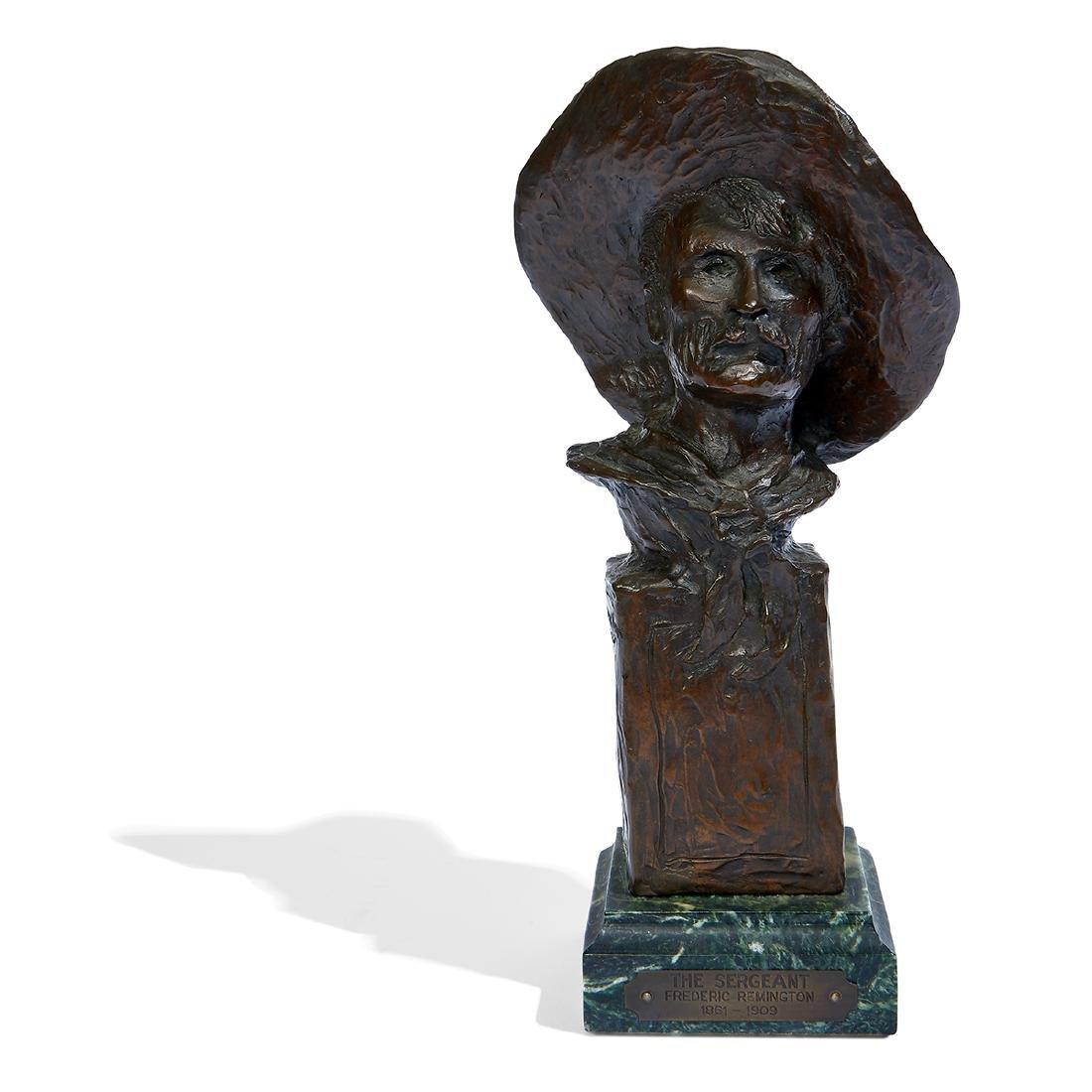 "after Frederick Remington, ""Sergeant"" Bronze Bust - 2"