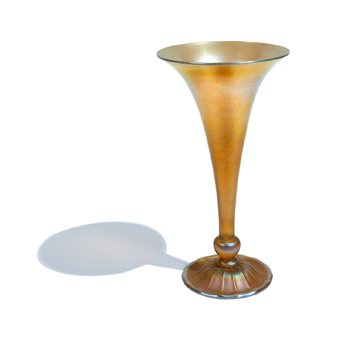 Louis C. Tiffany, Gold Favrile Glass Trumpet Vase