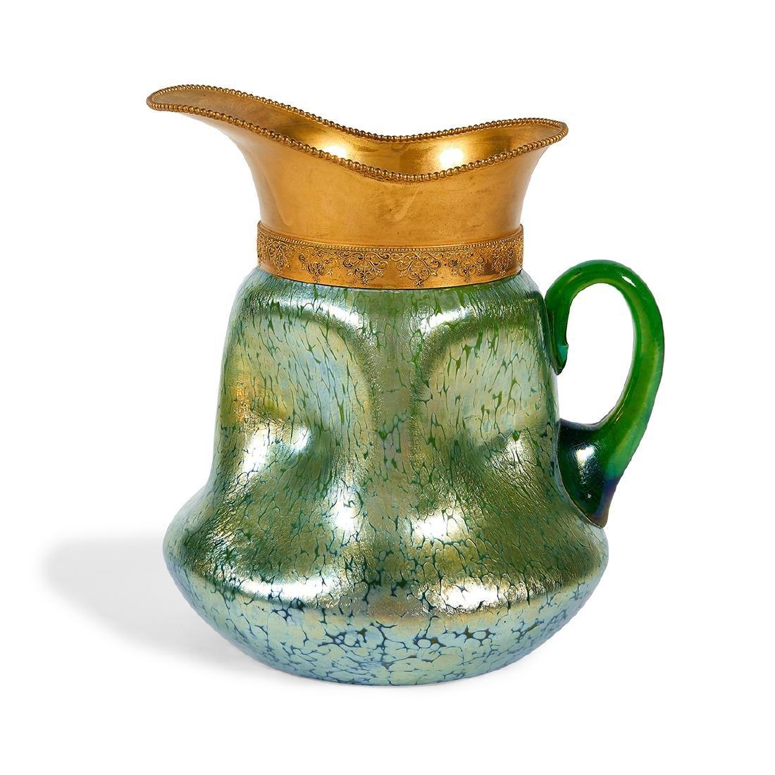 Loetz, Pappilon Creta Glass & Gilt Metal Pitcher