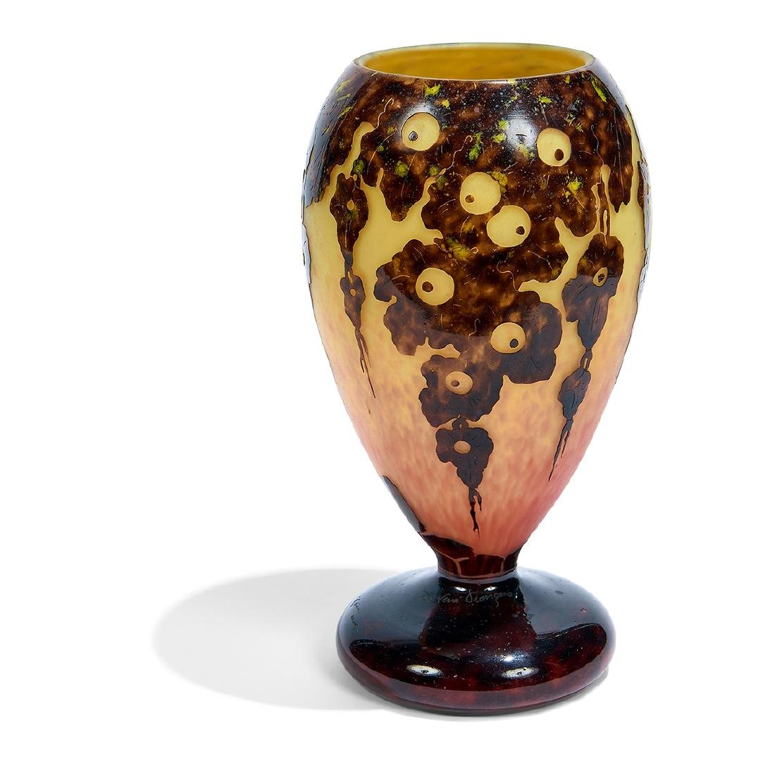 Le Verre Français, Leaves/Acorn Cameo Glass Vase