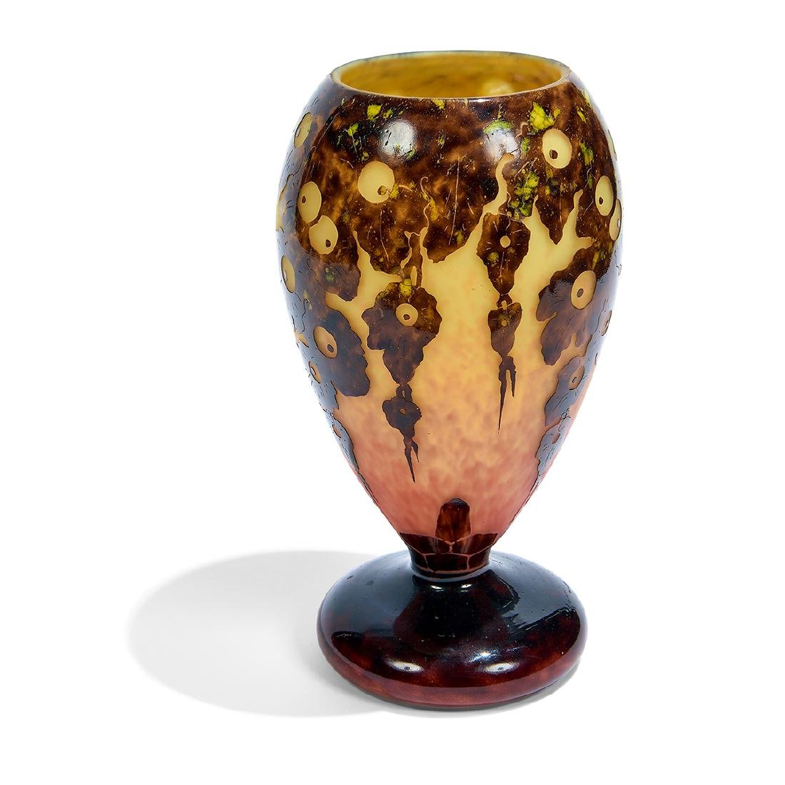 Le Verre Français, Leaves/Acorn Cameo Glass Vase - 2