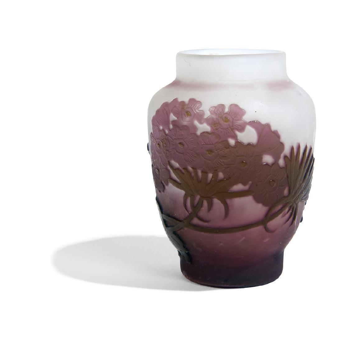 *Gallé, Hydrangea Cameo Glass Cabinet Vase