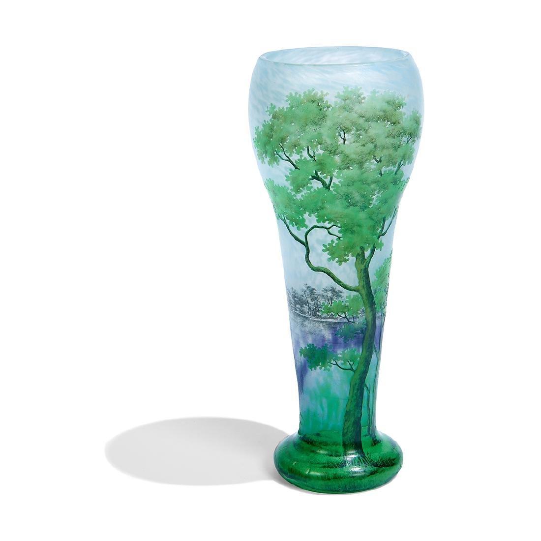 """Daum, """"Paysage d'été"""" Enameled Cameo Glass Vase"""
