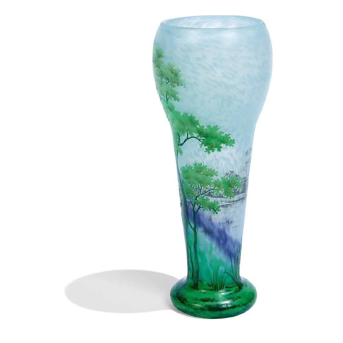 """Daum, """"Paysage d'été"""" Enameled Cameo Glass Vase - 2"""