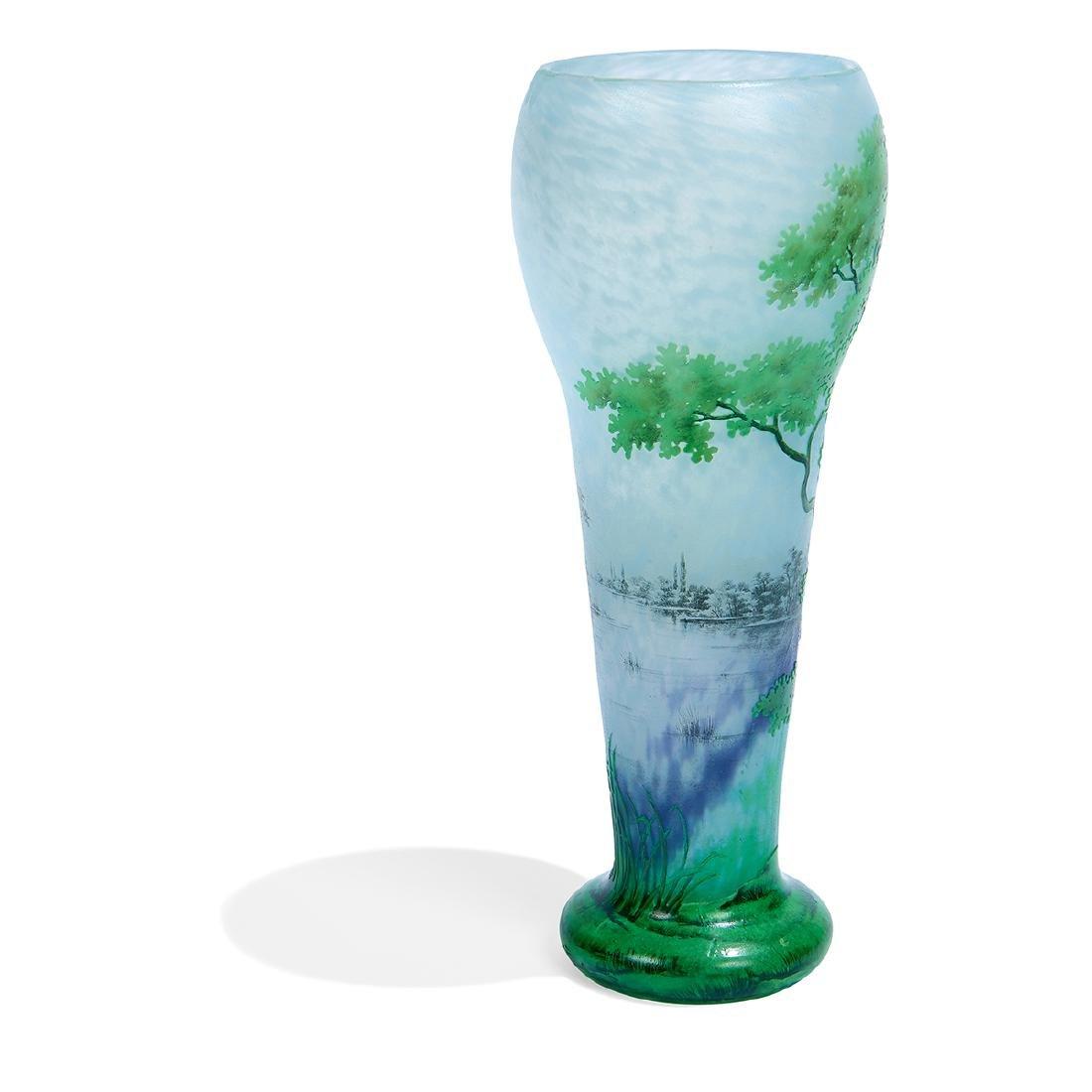 """Daum, """"Paysage d'été"""" Enameled Cameo Glass Vase - 3"""
