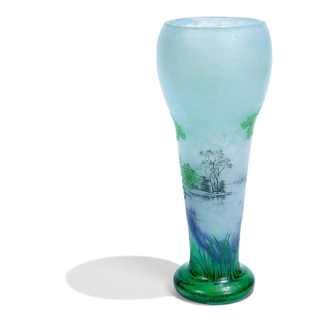 """Daum, """"Paysage d'été"""" Enameled Cameo Glass Vase - 4"""