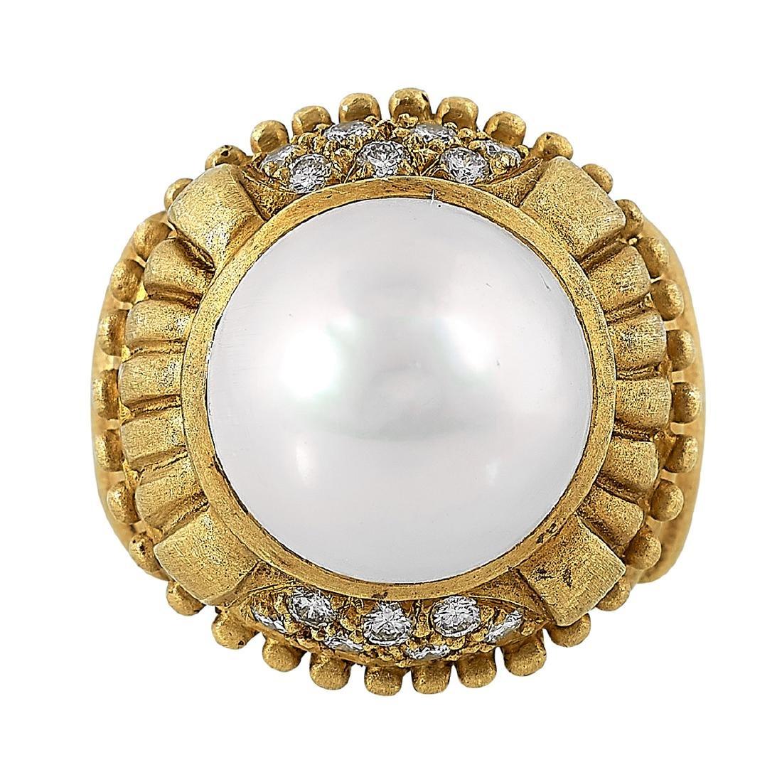 Doris Panos, 18K Yellow Gold Ladies Ring, Size 7 - 2