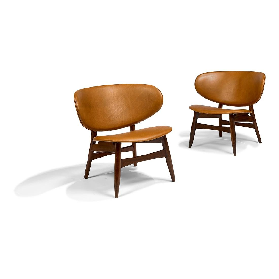 In the Style of Hans J. Wegner, Shell chairs, pair