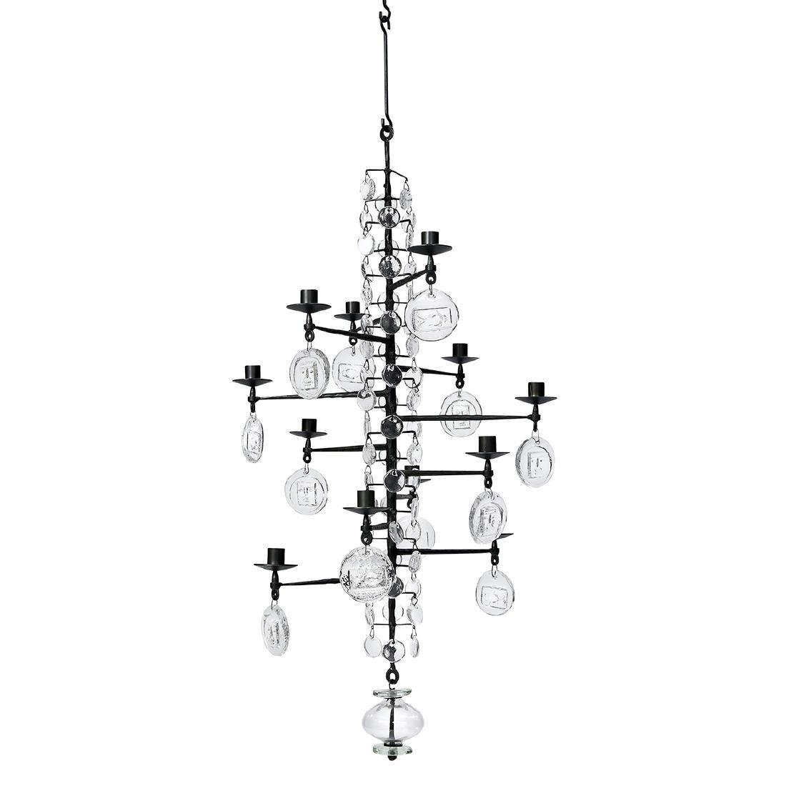 Erik Hoglund for Boda Smide AB 12-light chandelier