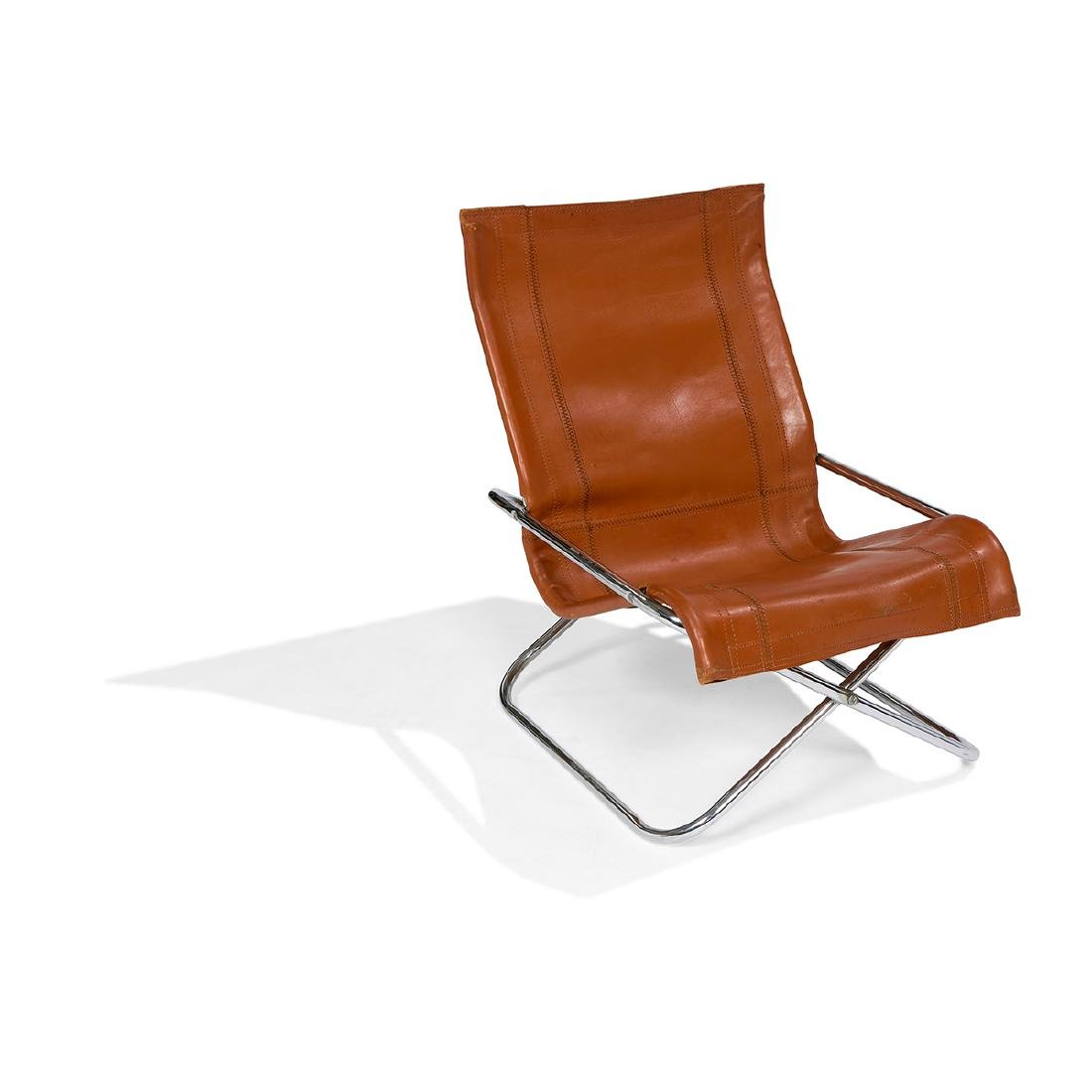 Takeshi Nii 'Ny' folding chair, leather seat