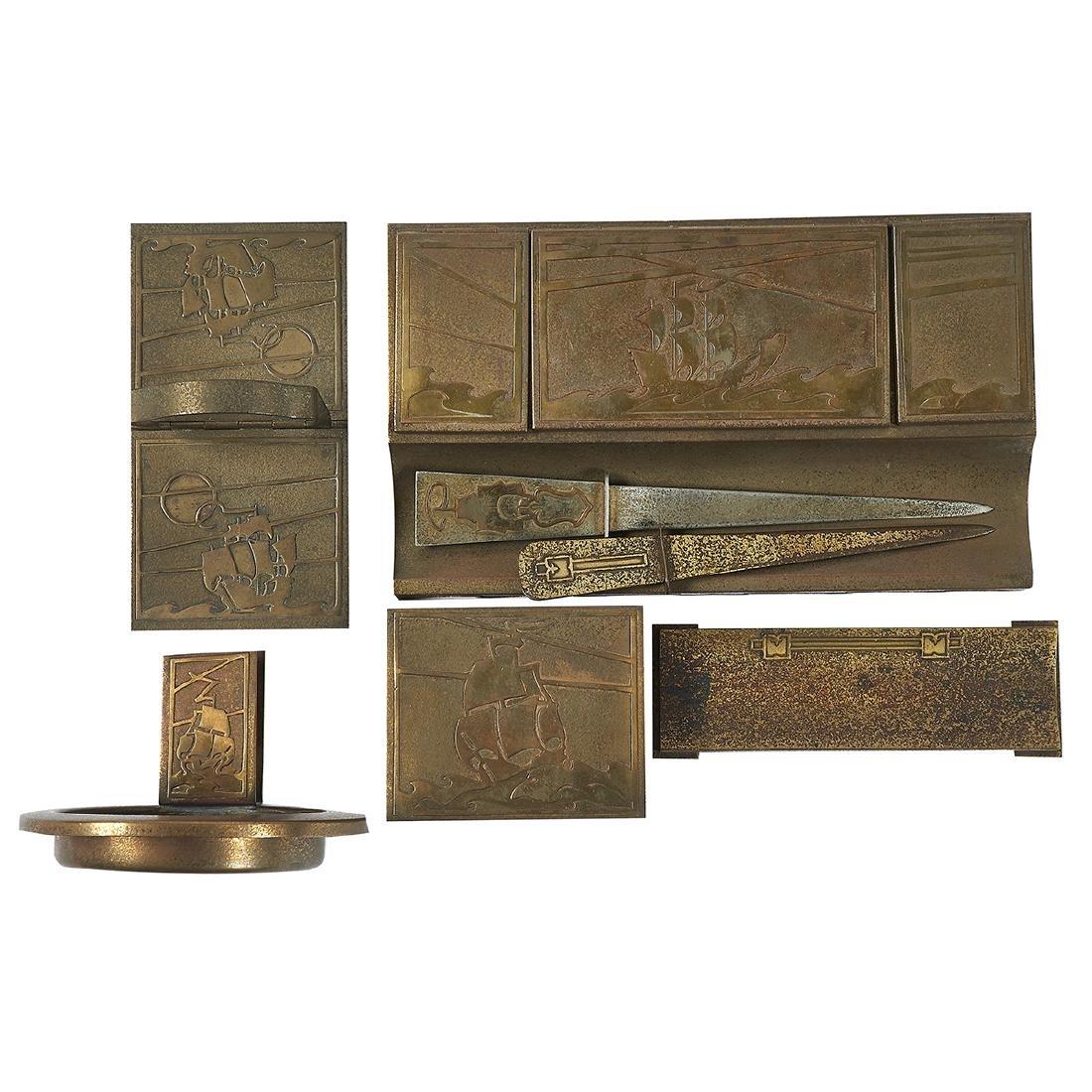Smith Metal Arts Co. Silver Crest line desk set - 2