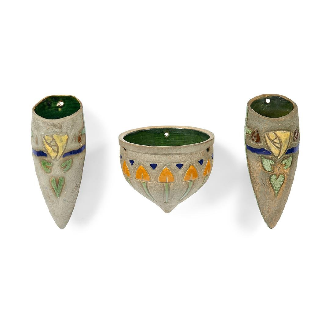 Roseville Pottery Co. Mostique wall pockets, pair