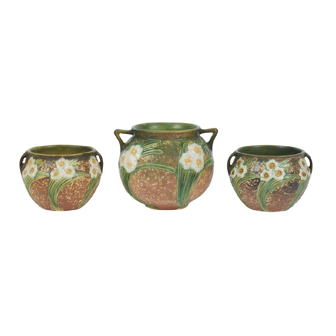 Roseville Pottery Co. Jonquil planters, three