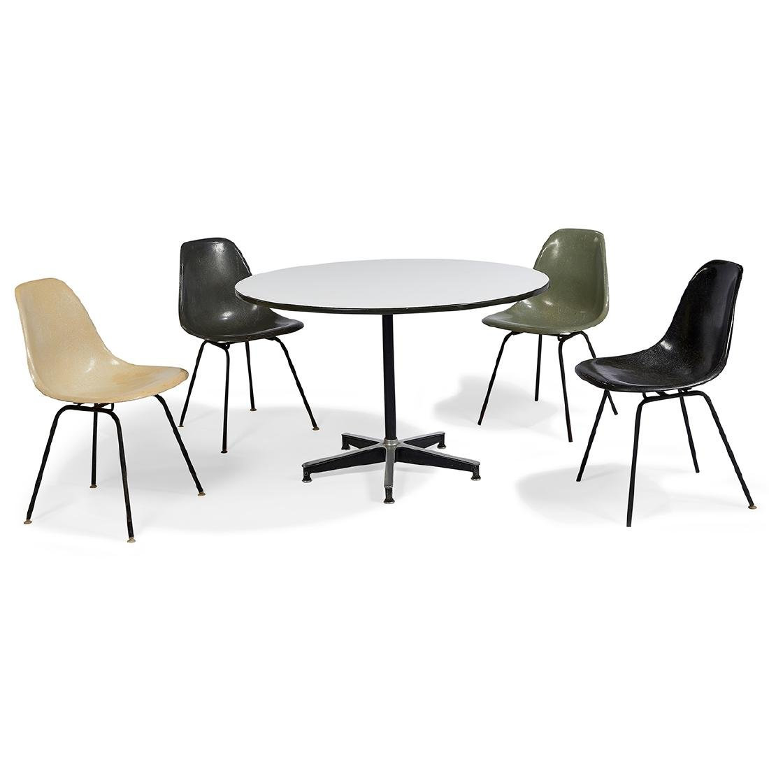 Eames for Herman Miller chairs, four, with table
