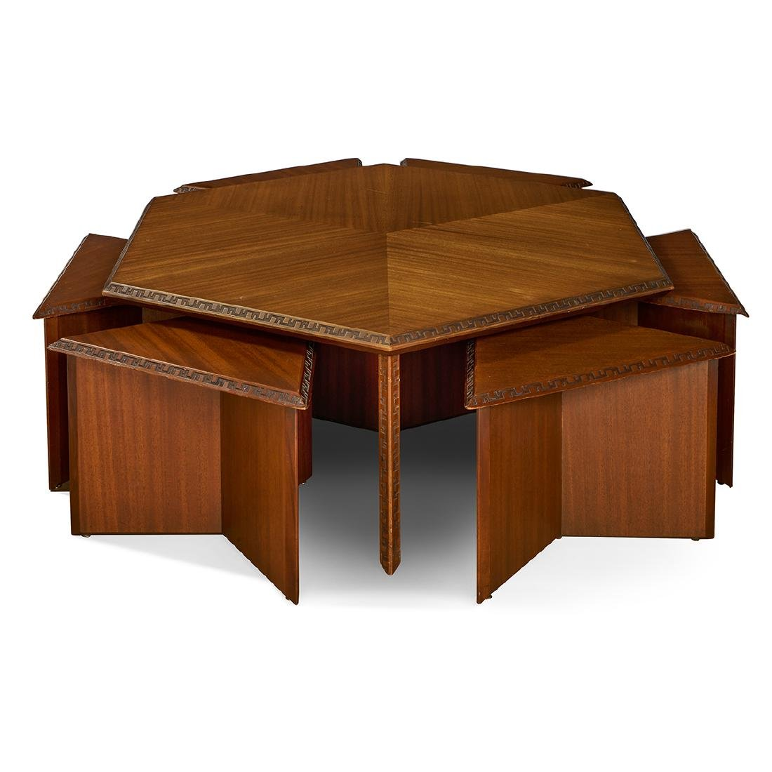 Coffee Table With Stools.Frank Lloyd Wright Henredon Coffee Table Stools