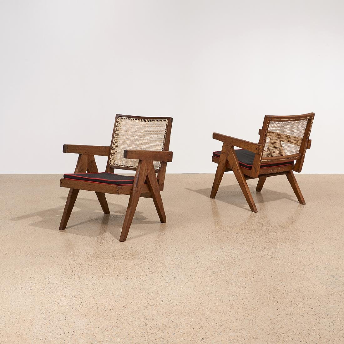 Pierre Jeanneret Low Lounge Chairs, pair