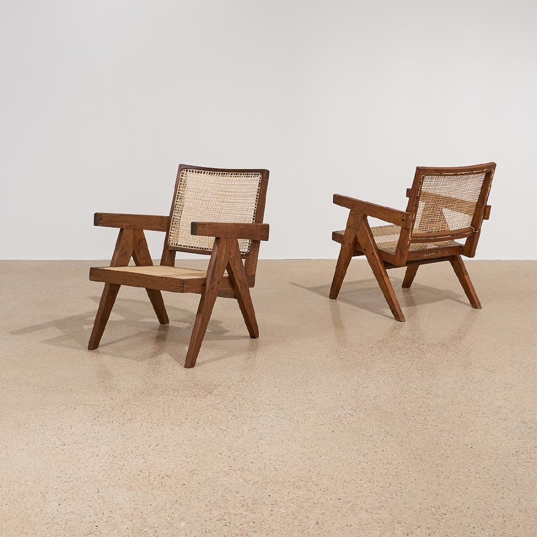 Pierre Jeanneret Low Lounge Chairs, pair - 2