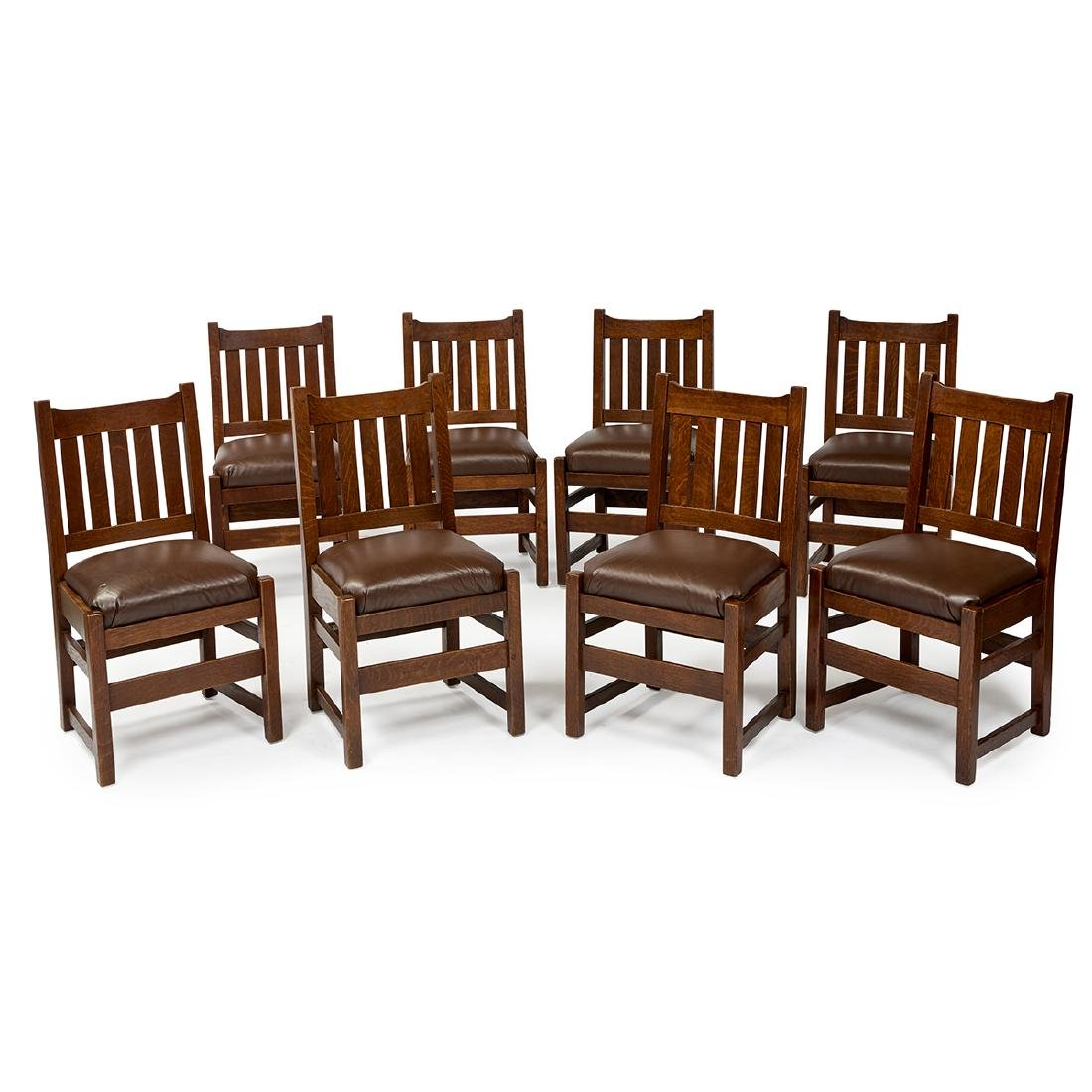 L. & J.G. Stickley set of (8) dining chairs, #820