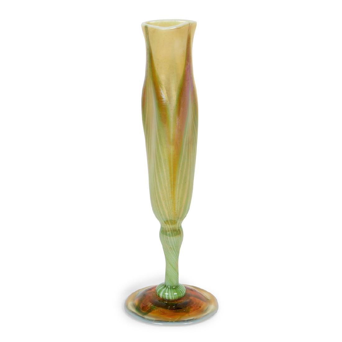 L.C. Tiffany Favrile Pulled Feather bud vase