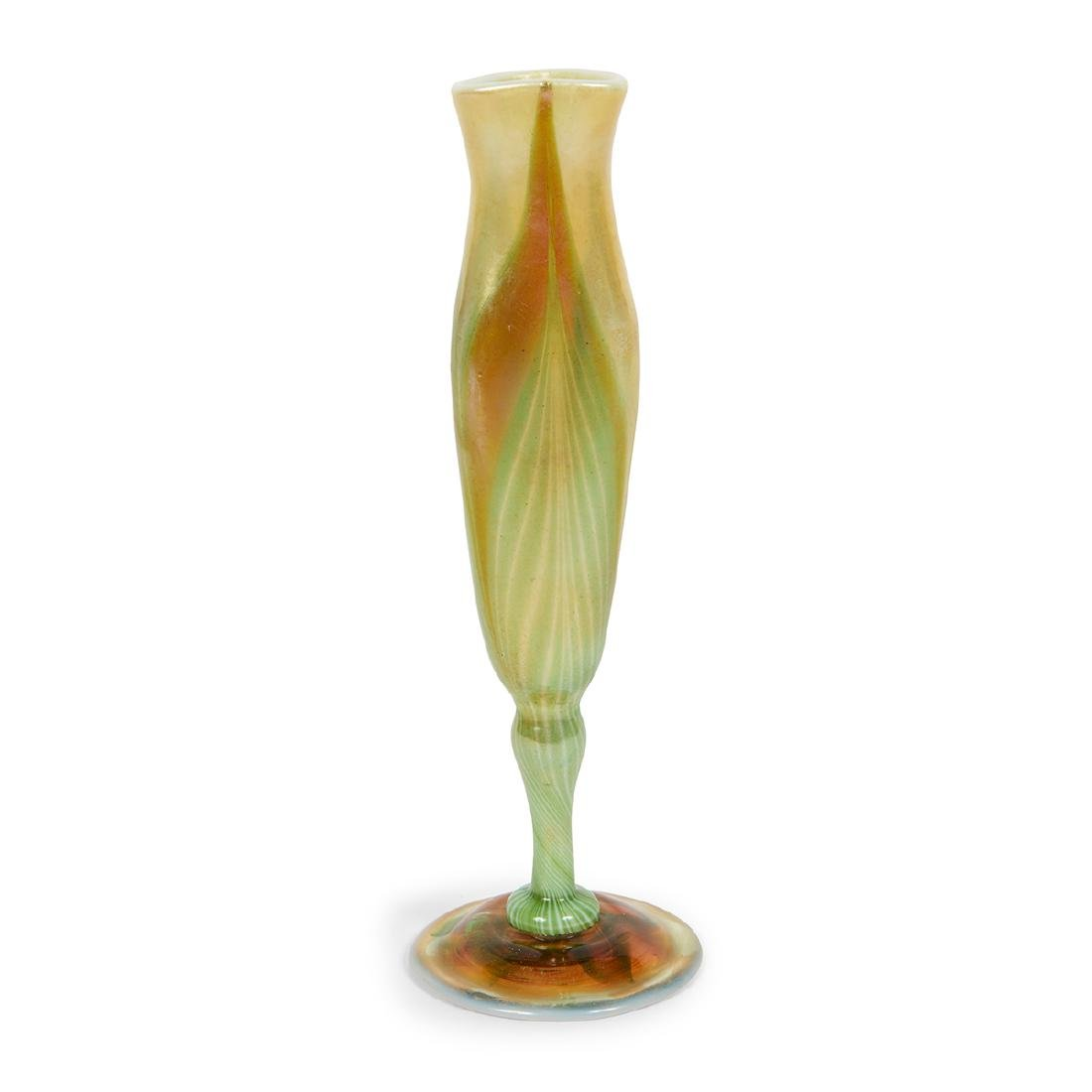 L.C. Tiffany Favrile Pulled Feather bud vase - 2