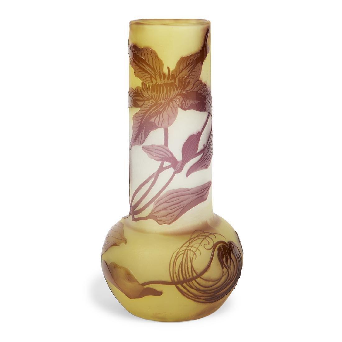 Gallé Clematis cameo glass vase