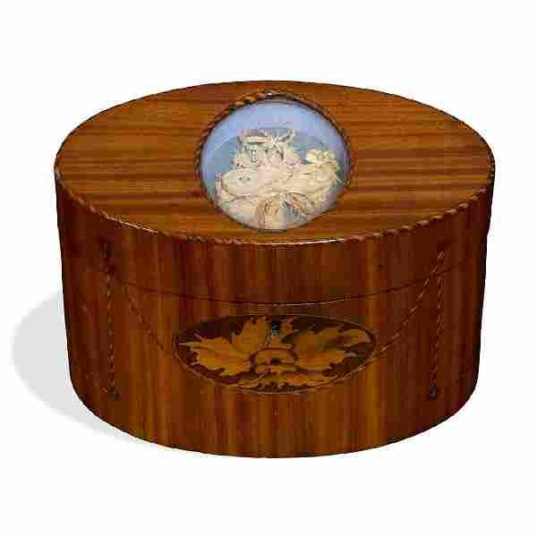 George III marquetry inlaid satinwood tea caddy