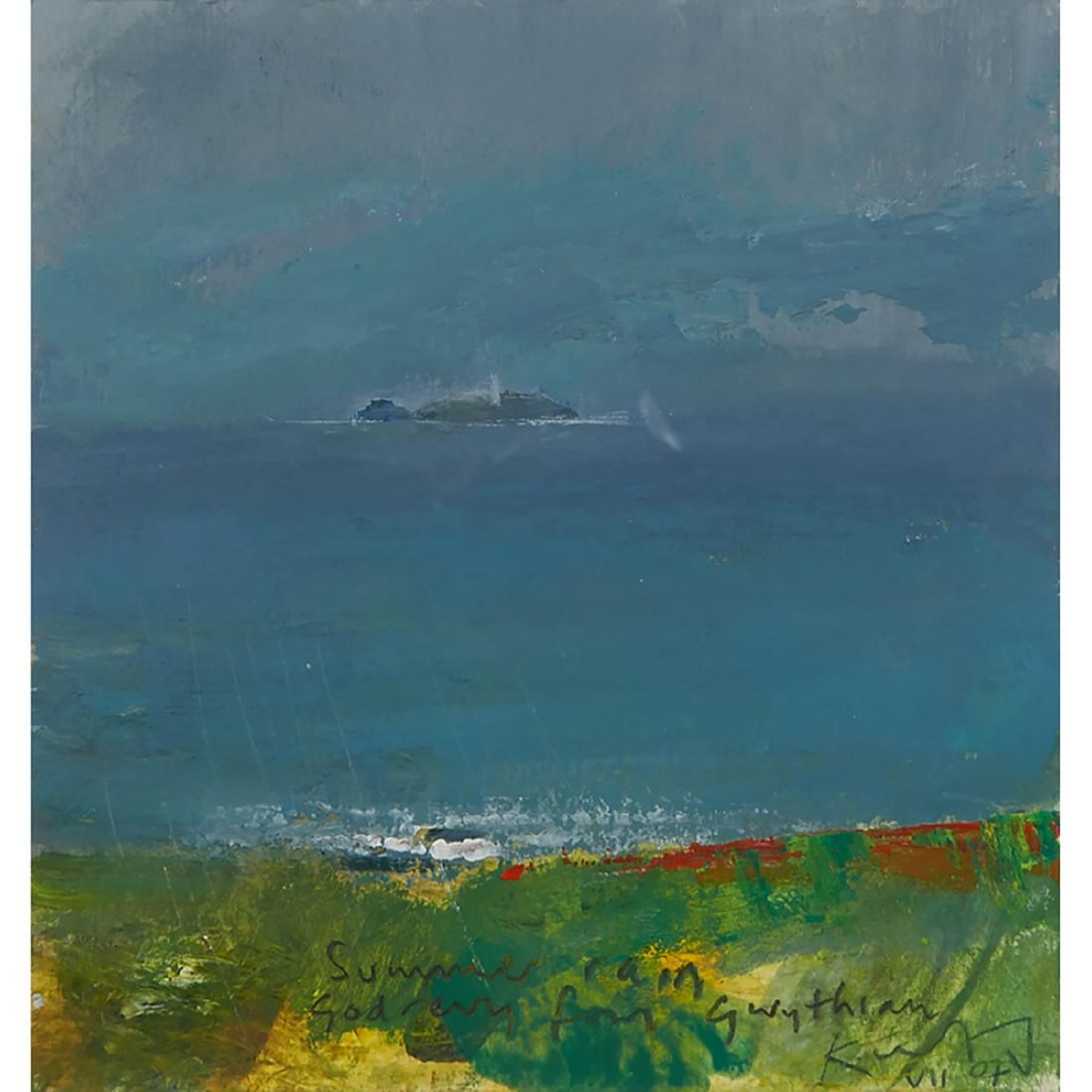 Kurt Jackson, Summer Rain Godrevy from Gwythian
