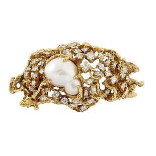 Arthur King 18K gold, diamond and pearl brooch