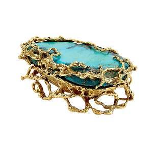 Arthur King 18K gold and turquoise dresser box