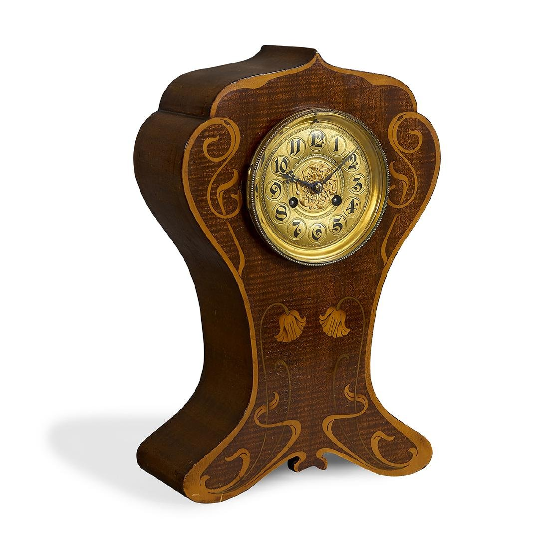 English Arts & Crafts inlaid mantle clock