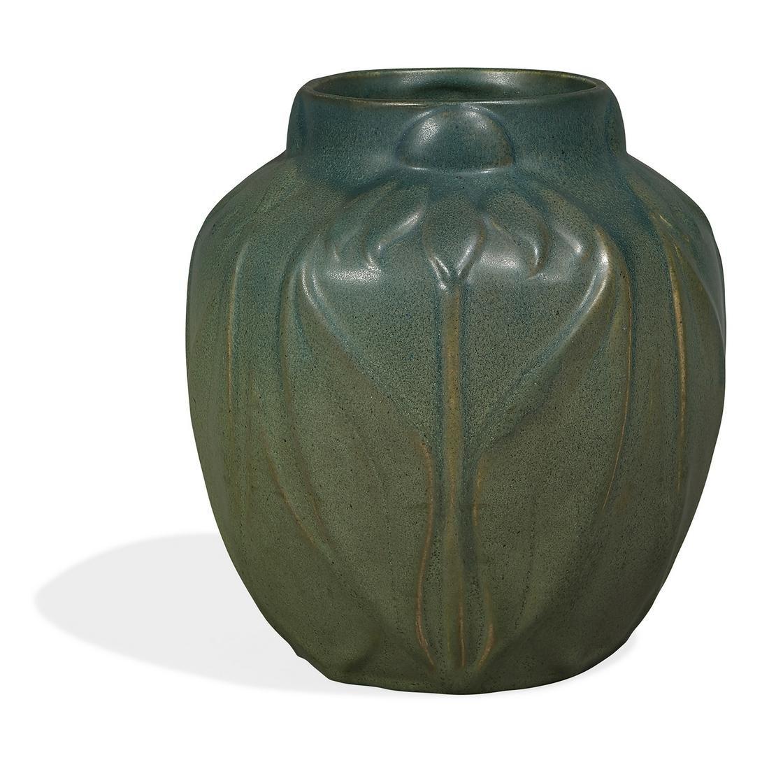 Van Briggle Pottery large vase with floral decoration