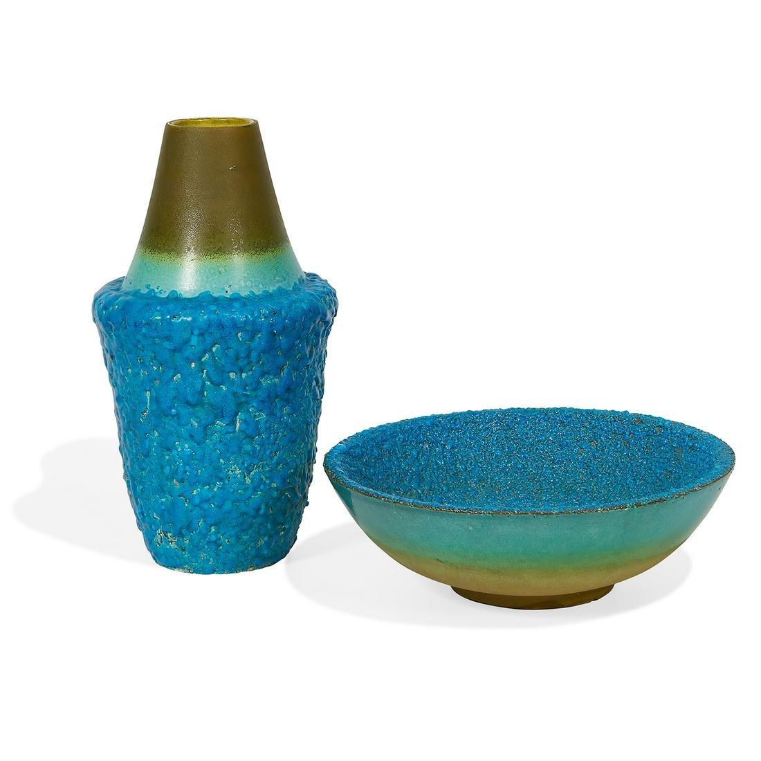 Bitossi / Raymor vase, #1357 and bowl, #1356