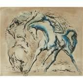 Jon Corbino, Horses, oil on masonite