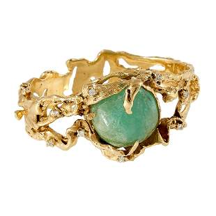 Arthur King gold, emerald and diamond bracelet