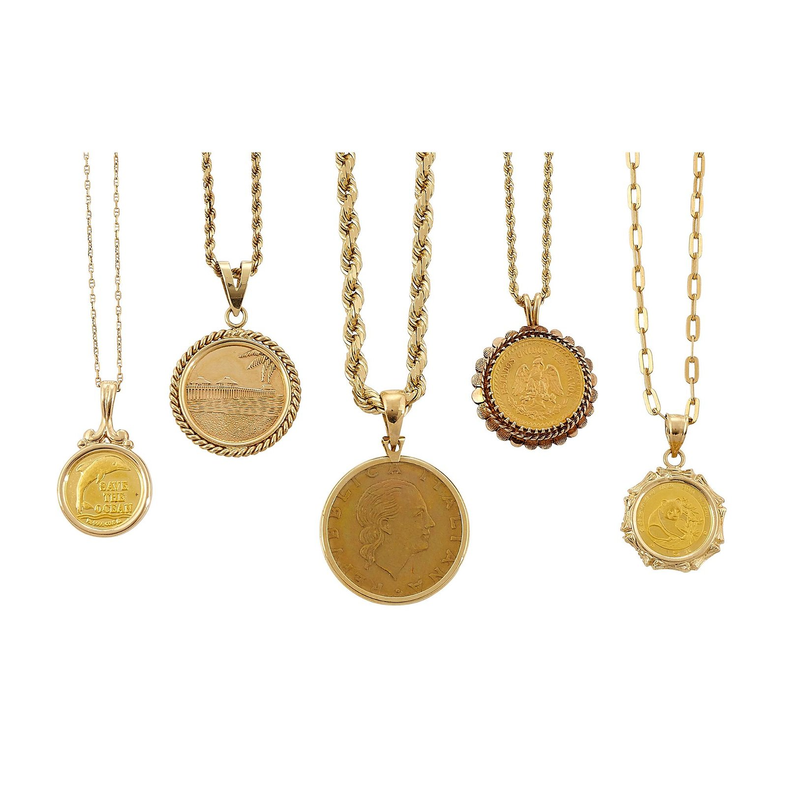 Coin and Coin Style Jewelry Group five 14K gold