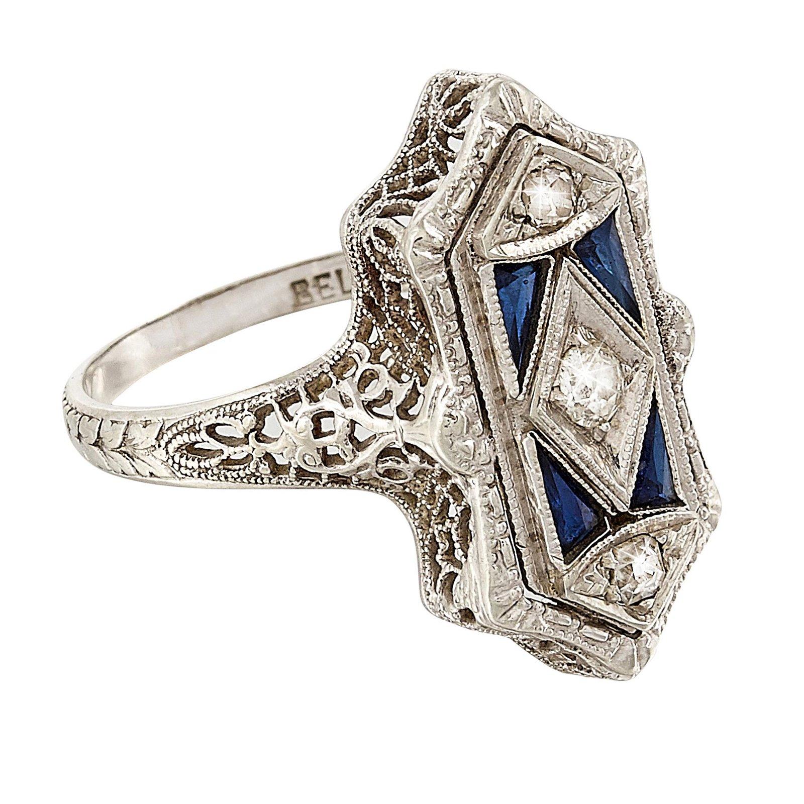 Belais Art Deco diamond, synthetic sapphire ring
