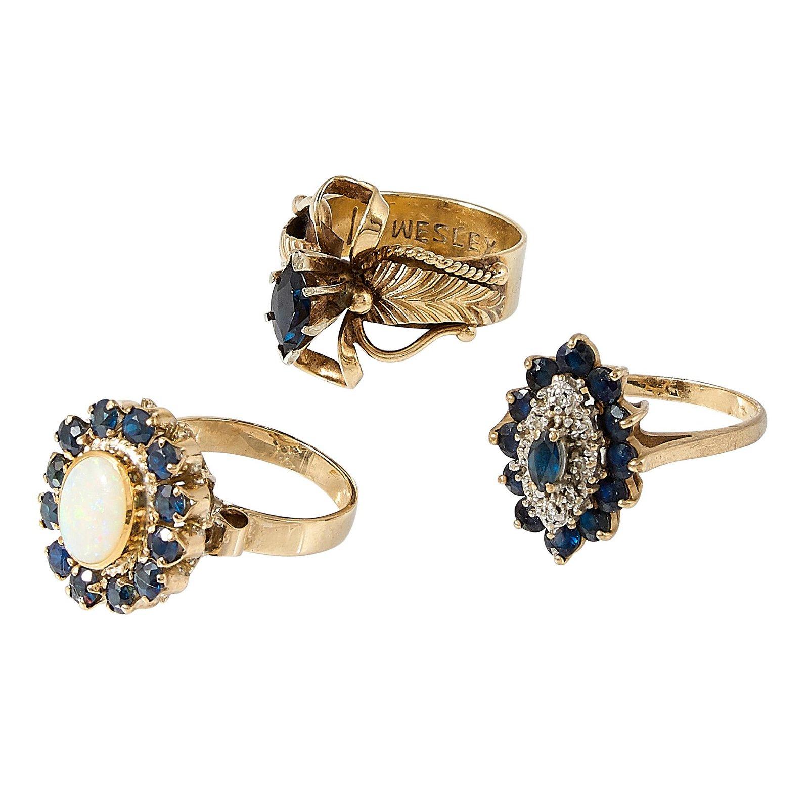 Jewelry Group, 1970s-1980s three rings
