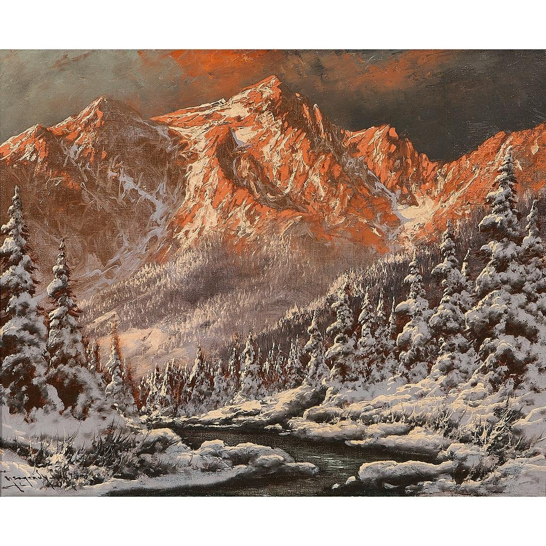 László Neogrady, Alpine Winter, oil on canvas