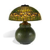 Tiffany Studios / Grueby Faience Acorn table lamp