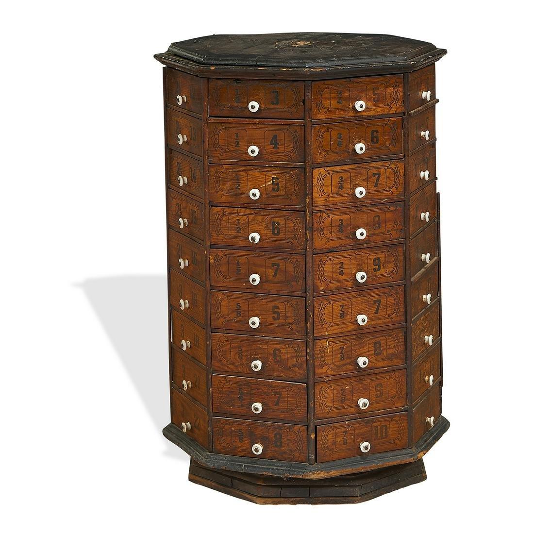American Antique 72-drawer revolving cabinet