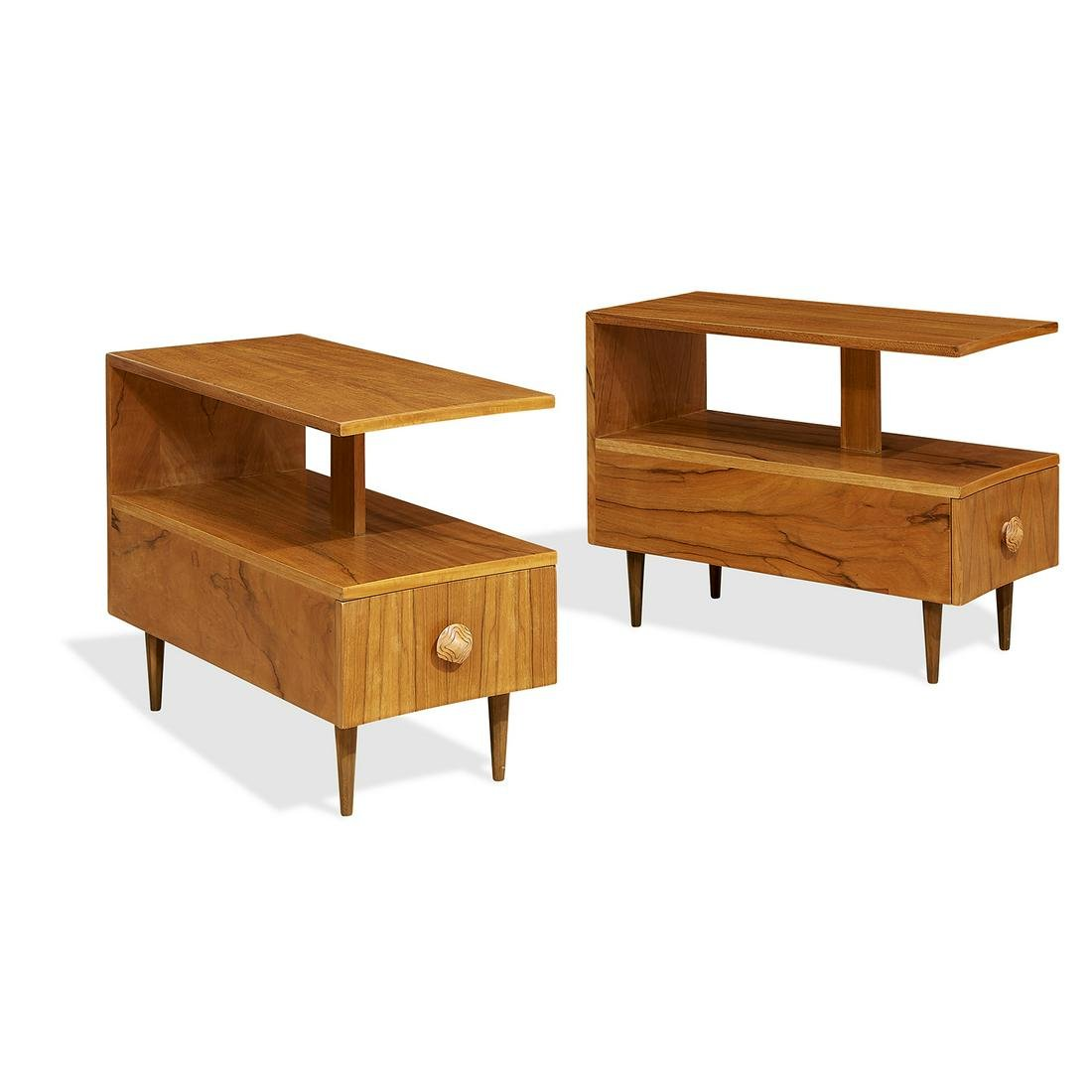 Gilbert Rohde for Herman Miller end tables, pair