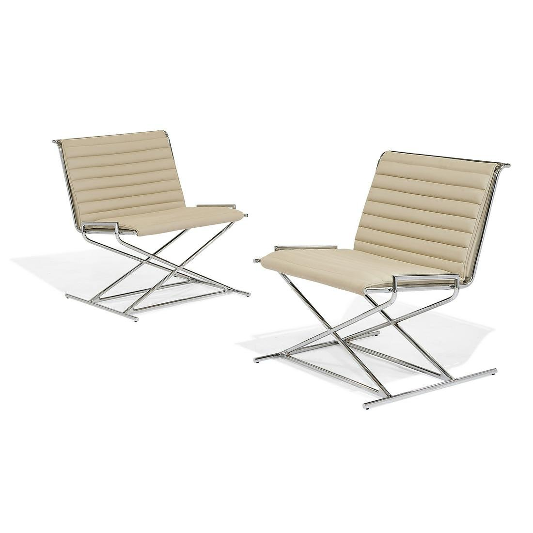 Ward Bennett for Geiger Sled lounge chairs, pair