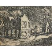 Walter Emerson Baum, Corner Store, lithograph